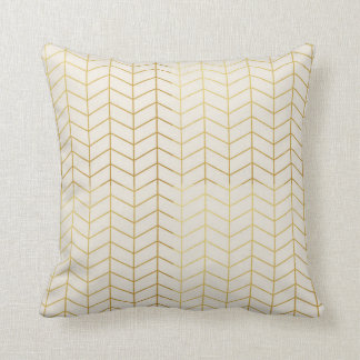 Herringbone Pattern Faux Gold Foil Ivory Geometric Cushion
