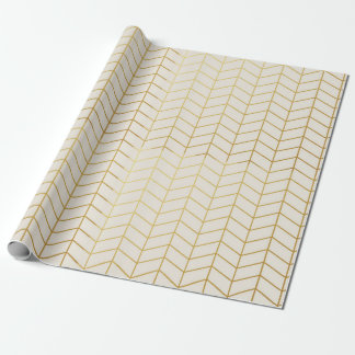 Herringbone Pattern Faux Gold Foil Ivory Geometric Wrapping Paper