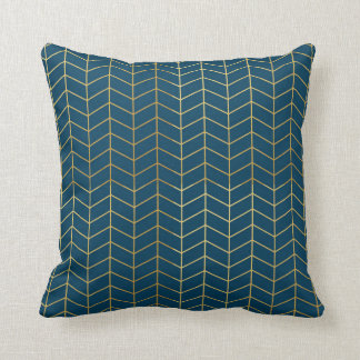 Herringbone Pattern Faux Gold Foil Navy Geometric Cushion