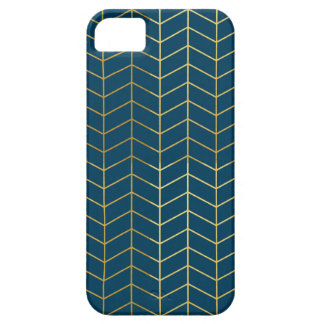 Herringbone Pattern Faux Gold Foil Navy Geometric iPhone 5 Cases