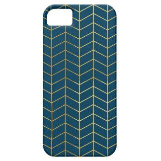 Herringbone Pattern Faux Gold Foil Navy Geometric iPhone 5 Cover