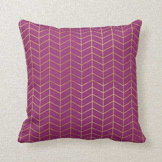 Herringbone Pattern Faux Gold Foil Purple Geo Cushion