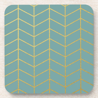 Herringbone Pattern Faux Gold Foil Teal Geometric Coaster