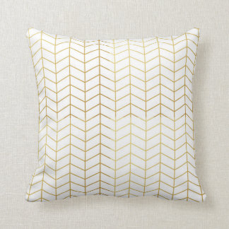 Herringbone Pattern Faux Gold Foil White Geometric Cushion