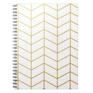 Herringbone Pattern Faux Gold Foil White Geometric Notebook