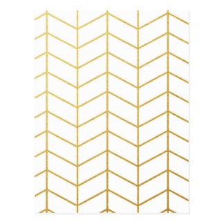 Herringbone Pattern Faux Gold Foil White Geometric Postcard