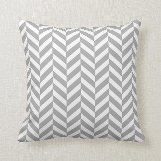 Herringbone Pattern Grey and White Throw Pillow