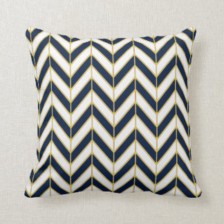 Herringbone Pattern Pillow in Navy, White, Gold