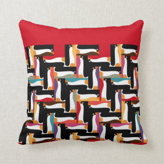 herringbone penguin red cushion