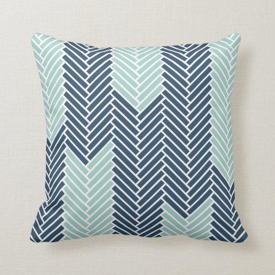 Herringbone Throw Pillow | {Navy & Mint Arrows}