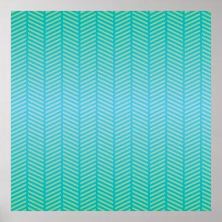 Herringbone Turquoise Blue Posters