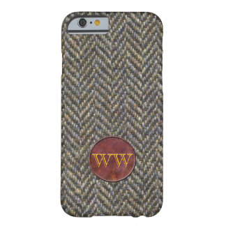 Herringbone Tweed and Leather Monogram Barely There iPhone 6 Case