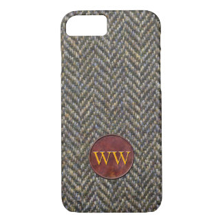 Herringbone Tweed and Leather Monogram iPhone 7 Case