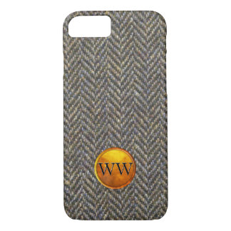 Herringbone Tweed Brass and Gold Fashion Monogram iPhone 7 Case