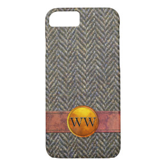 Herringbone Tweed, Leather Gold Monogram iPhone 7 Case
