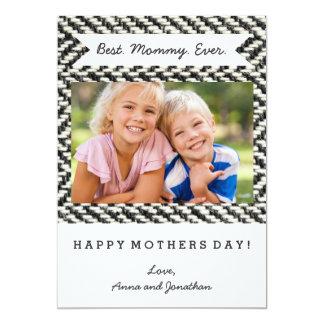 Herringbone Tweed Rustic Black & White Knit Print 13 Cm X 18 Cm Invitation Card