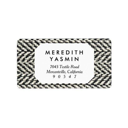 Herringbone Tweed Rustic Black & White Knit Print Address Label
