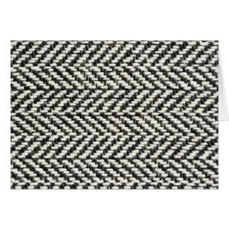 Herringbone Tweed Rustic Black & White Knit Print Greeting Cards
