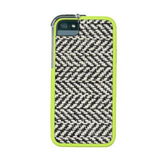 Herringbone Tweed Rustic Black & White Knit Print iPhone 5 Cases