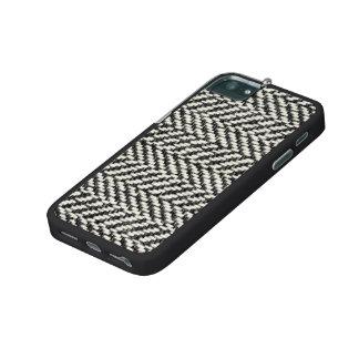 Herringbone Tweed Rustic Black & White Knit Print iPhone 5 Case