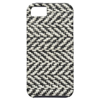 Herringbone Tweed Rustic Black & White Knit Print iPhone 5 Covers