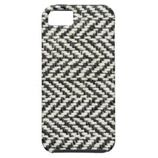 Herringbone Tweed Rustic Black & White Knit Print iPhone 5 Covers