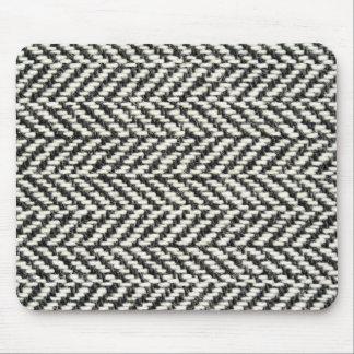 Herringbone Tweed Rustic Black & White Knit Print Mouse Mat