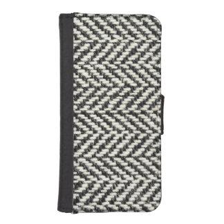 Herringbone Tweed Rustic Black & White Knit Print Phone Wallets