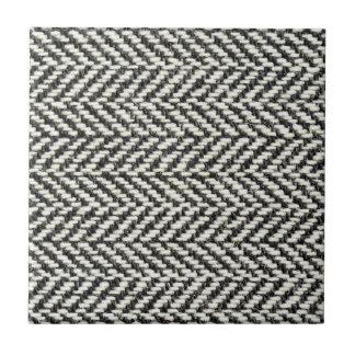 Herringbone Tweed Rustic Black White Knit Print Ceramic Tiles