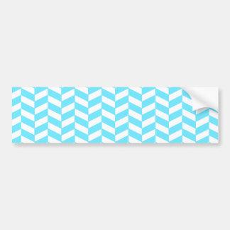 Herringbone White Bright Blue Summer Mod Pattern Bumper Sticker