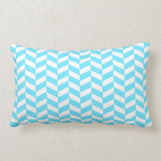 Herringbone White Bright Blue Summer Mod Pattern Lumbar Cushion