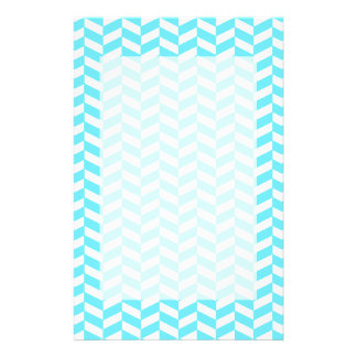 Herringbone White Bright Blue Summer Mod Pattern Personalized Stationery