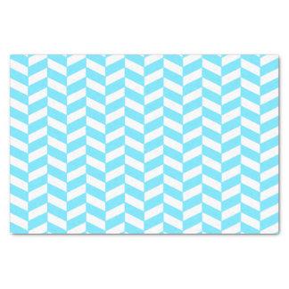Herringbone White Bright Blue Summer Mod Pattern Tissue Paper