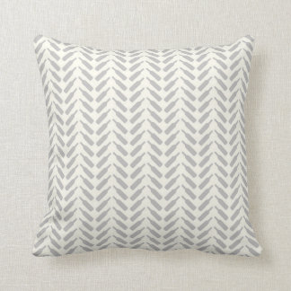 Herringbone Wine Bottle Pattern Cream and Gray Cushion