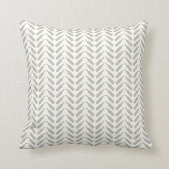 Herringbone Wine Bottle Pattern Cream and Grey Cushion
