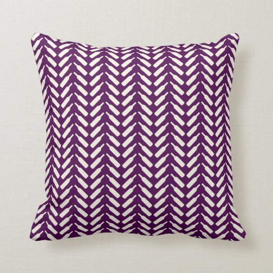 Herringbone Wine Bottle Pattern Plum Throw Pillow