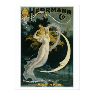 Herrmann ~ Maid of the Moon Vintage Magician Act Postcard