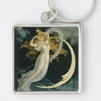 Herrmann ~ Maid of the Moon Vintage Magician Act Silver-Colored Square Key Ring