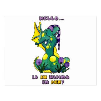 Herro is ju in der? cute baby dragon post card
