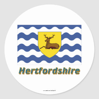 Hertfordshire Flag with Name Classic Round Sticker