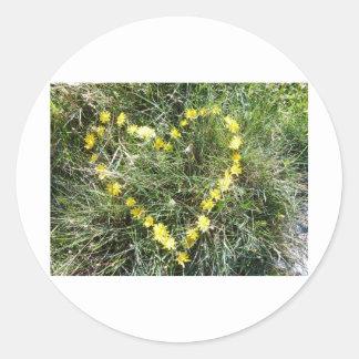 Herz aus Blumen Runde Sticker