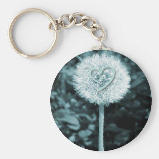 Herz blume heart flower basic round button key ring