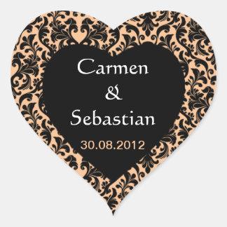 Herzförmiges wedding mono gram with Damastmuster Heart Sticker