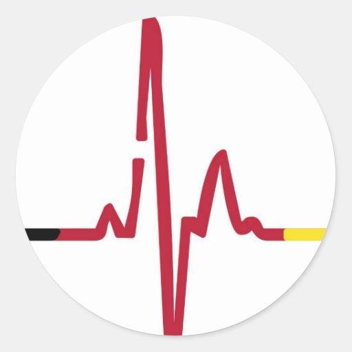 Herzschlag Deutschland Round Sticker