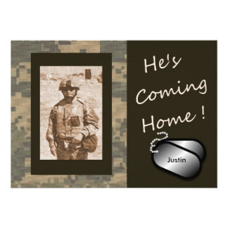 He's Coming Home! Welcome Home Party Custom Announcements