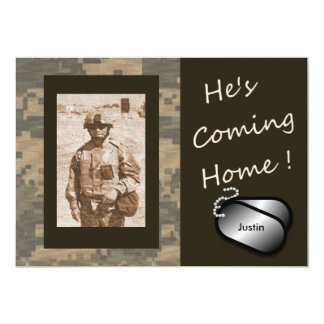 """He's Coming Home! Welcome Home Party 5"""" X 7"""" Invitation Card"""