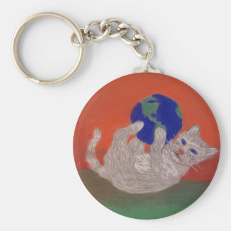 He's Got the Whole World in His Paws Basic Round Button Key Ring