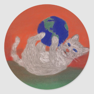 He's Got the Whole World in his Paws Round Sticker