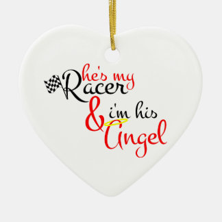 He's My Racer and I'm His Angel Christmas Ornaments