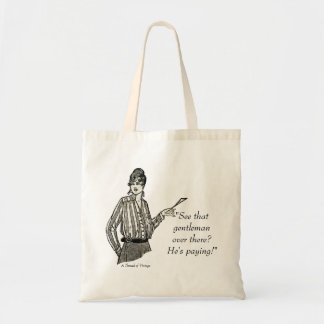 He's paying! - vintage lady shopping tote budget tote bag